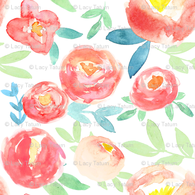 Soft pink and red watercolor florals