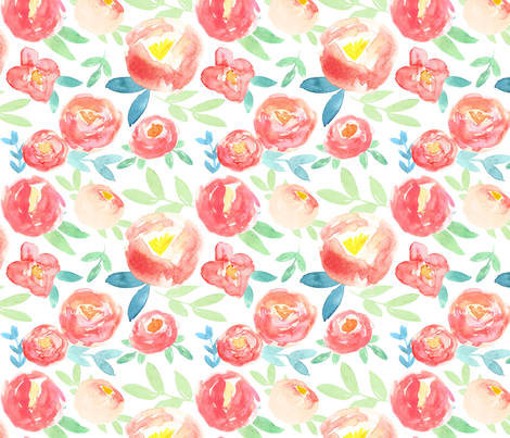 Soft pink and red watercolor florals  fabric by smallhoursshop on Spoonflower - custom fabric