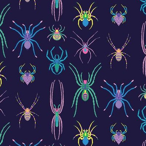 Mini Pop Art Spiders in Blue