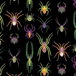 Mini Pop Art Spiders in Black