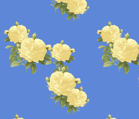 Redoute Roses ~ Pale Yellow on Retreat  fabric by peacoquettedesigns on Spoonflower - custom fabric
