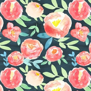 pink watercolor florals on navy