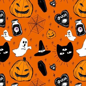 halloween doodle orange