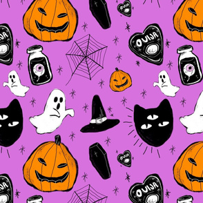 halloween doodle purple