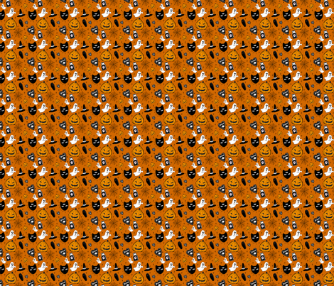 halloween doodle orange (tiny) fabric by heartcore on Spoonflower - custom fabric
