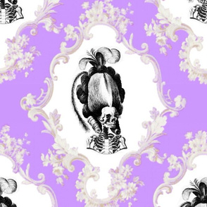 7 Marie Antoinette french France Queen Empress poufs skulls skeletons Victorian scrolls scrollworks flowers floral leaves leaf Baroque Rococo borders frames medallions Princess morbid macabre scary parody caricature egl elegant gothic lolita  purple laven