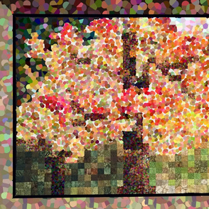 Autumn Maple Tree: Pointillism & Quilting