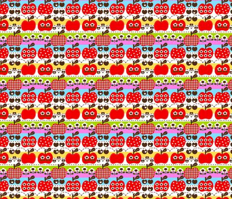 happy apple_red fabric by 257 on Spoonflower - custom fabric