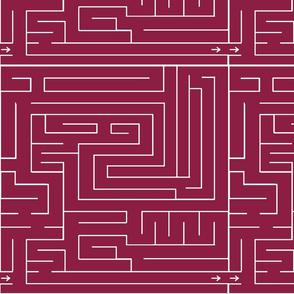 Labyrinth Burgundy Upholstery Fabric