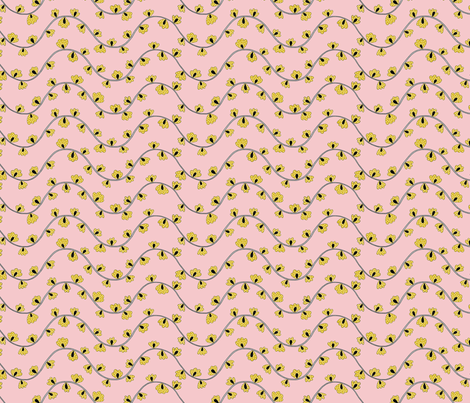 Yellow, White and Black Flower Wines on Pink  fabric by toiledelina on Spoonflower - custom fabric
