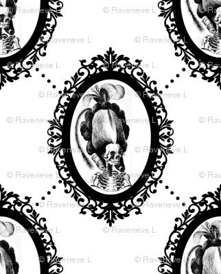 24 Marie Antoinette french France Queen Empress skulls skeletons Victorian  Baroque Princess monochrome black white trellis tufted Rococo poufs filigree borders frames medallions  morbid macabre scary parody caricature egl elegant gothic lolita diamond sh