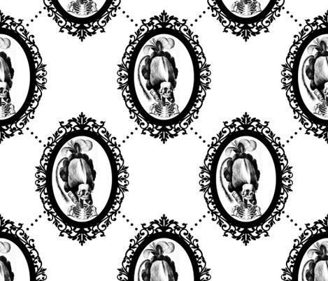 24 Marie Antoinette french France Queen Empress skulls skeletons Victorian  Baroque Princess monochrome black white trellis tufted Rococo poufs filigree borders frames medallions  morbid macabre scary parody caricature egl elegant gothic lolita diamond sh fabric by raveneve on Spoonflower - custom fabric