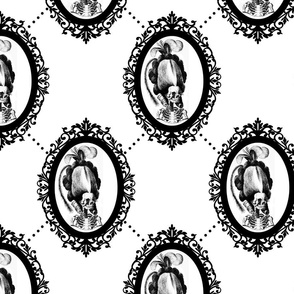 24 Marie Antoinette french France Queen Empress skulls skeletons Victorian  Baroque Princess monochrome black white trellis tufted Rococo poufs filigree borders frames medallions  morbid macabre scary parody caricature egl elegant gothic lolita diamond sh