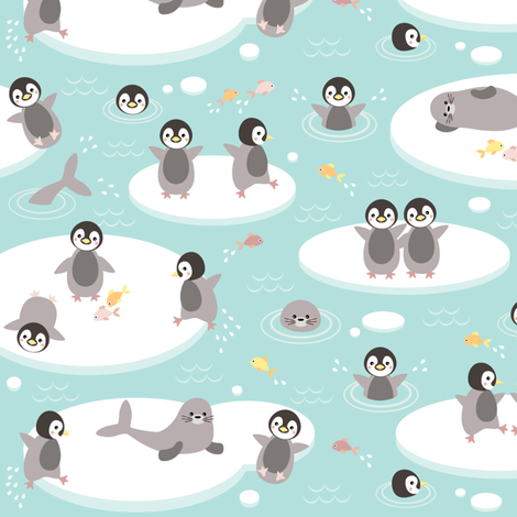 Baby penguins - small fabric by heleenvanbuul on Spoonflower - custom fabric