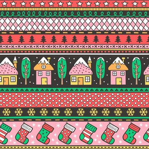Winter Holidays Christmas Houses, Socks, Snowflakes, Stars,Dots Stripes Red Green Blue