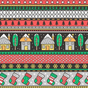Winter Holidays Christmas Houses, Socks, Snowflakes, Stars,Dots Stripes Red Green Grey