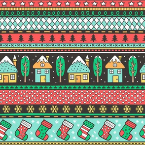 Winter Holidays Christmas Houses, Socks, Snowflakes, Stars,Dots Stripes Red Green Mint