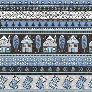 Winter Holidays Christmas Houses, Socks, Snowflakes, Stars,Dots Stripes Blue Denim