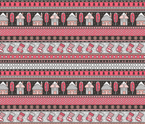 Winter Holidays Christmas Houses, Socks, Snowflakes, Stars,Dots Stripes Red fabric by caja_design on Spoonflower - custom fabric