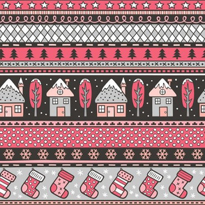 Winter Holidays Christmas Houses, Socks, Snowflakes, Stars,Dots Stripes Red