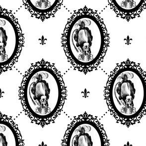 10 Marie Antoinette french France Queen Empress skulls skeletons Victorian  Baroque Princess monochrome black white trellis tufted fleur de lis flowers lily Rococo poufs filigree borders frames medallions  morbid macabre scary parody caricature egl elegan