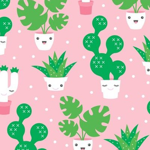 Kawaii love cactus botanical succulent garden spring summer cuteness japan lovers kids design pink and green girls