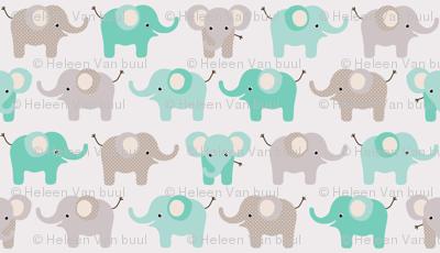 Happy elephants on grey