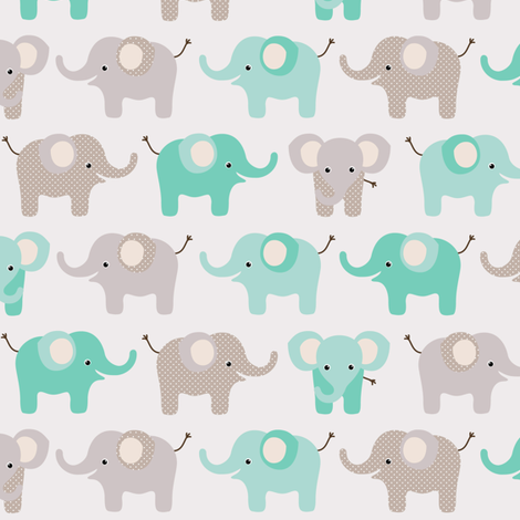 Happy elephants on grey fabric by heleenvanbuul on Spoonflower - custom fabric