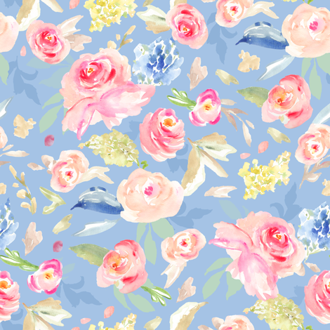 Vera Blue Watercolor Flowers fabric by angiemakes on Spoonflower - custom fabric