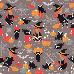 Enchanted Vintage Halloween Spell // brown grey background black cats orange red yellow black & white cute witch pumpkin bats & cobwebs