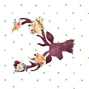 "90 8"" Autumn Wine Floral Deer // Gold Dots"