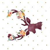 "90 8"" Autumn Wine Floral Deer // Gold Dots"