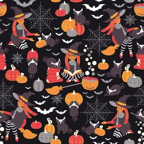 Enchanted Vintage Halloween Spell // black background brown cats orange red yellow black & white cute witch pumpkin bats & cobwebs