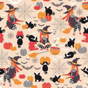 Enchanted Vintage Halloween Spell // beije background black cats orange red yellow black & white cute witch pumpkin bats & cobwebs