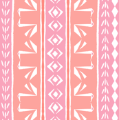 Tribal Swans Stripe Pink & Peach