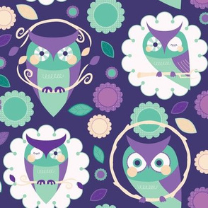 Owls and Flowers in Purple