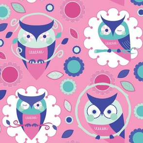 Owls and Flowers in Pink