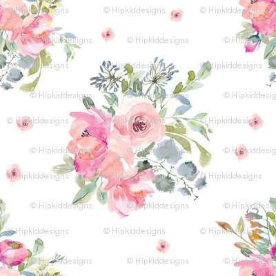 """12"""" Blushing Beauty Florals // White"""