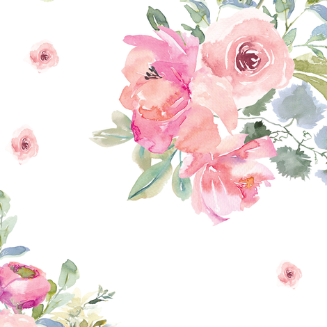 """12"""" Blushing Beauty Florals // White fabric by hipkiddesigns on Spoonflower - custom fabric"""