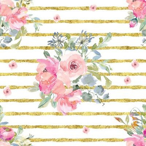 "8"" Blushing Beauty Florals // Gold Stripes"