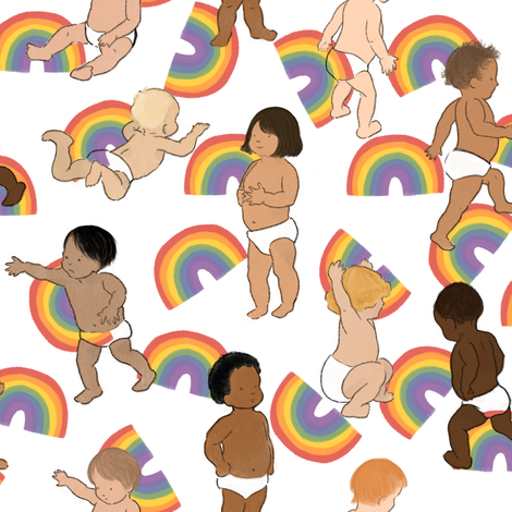 Babies with Rainbows fabric by landpenguin on Spoonflower - custom fabric