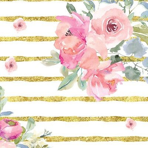 "12"" Blushing Beauty Florals // Gold Stripes"