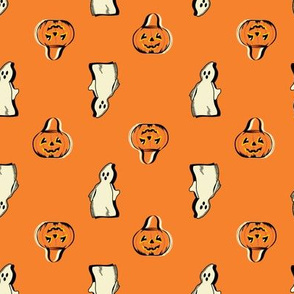 Vintage Halloween ghost and jack-