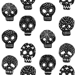 Sugar Skulls fabric day of the dead holiday fall autumn seasonal halloween pattern black and white