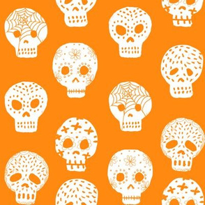 Sugar Skulls fabric day of the dead holiday fall autumn seasonal halloween pattern orange