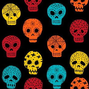 Sugar Skulls fabric day of the dead holiday fall autumn seasonal halloween pattern multi