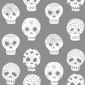 Sugar Skulls fabric day of the dead holiday fall autumn seasonal halloween pattern grey