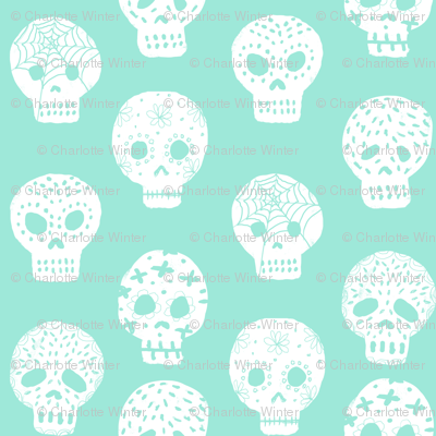 Sugar Skulls fabric day of the dead holiday fall autumn seasonal halloween pattern mint