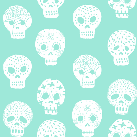Sugar Skulls fabric day of the dead holiday fall autumn seasonal halloween pattern mint fabric by charlottewinter on Spoonflower - custom fabric