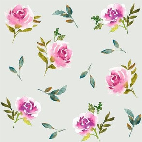 Dreaming Roses on Light Sage Green